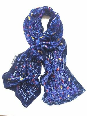 £8 • Buy Tie Rack Navy Blue Patterned Velvet Scarf Embellished With Red Glass Beads New