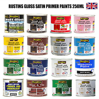 £7.75 • Buy Rustins Small Job Gloss Satin Primer Paint Indoor & Outdoor Use For Wood Metal