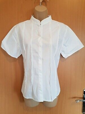 £14.99 • Buy ORVIS Pure White Mandarin Collar Shirt Blouse 12 Short Sleeve Top Fitted Darted