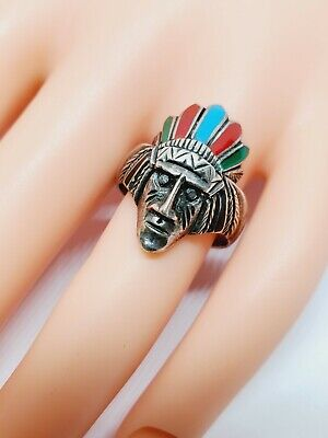 £27.33 • Buy 925 Sterling Silver Native American Indian Chief Head Ring Sz 8.5