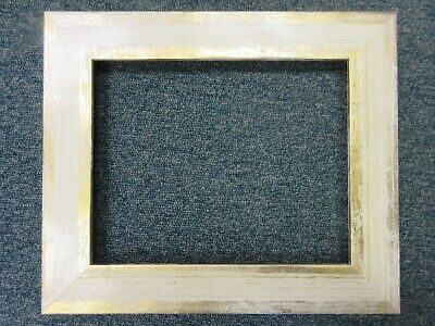 AU8.97 • Buy Sale - 8 X10  Wide Flat 45mm Cream Wash & Gold Empty Wood Picture Frame