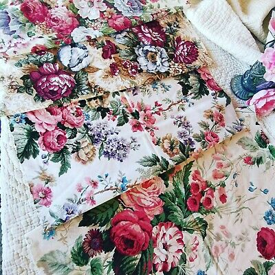 Vintage Remnant Curtain Reclaimed Fabric Etc Cabbage Rose Sandersons  Pack 156 • 30£