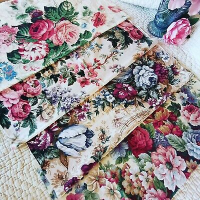 Vintage Remnant Curtain Reclaimed Fabric Etc Cabbage Rose Sandersons  Pack 154 • 30£