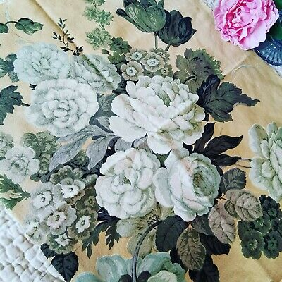 Vintage Sandersons Fabric Reclaimed Cabbage Roses Pk 155 • 7.50£