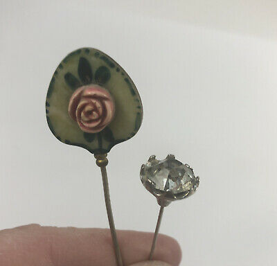 £58.09 • Buy Antique Hat Pins Carved Rose And Clear Stone Quantity Of 2 Rare Vintage