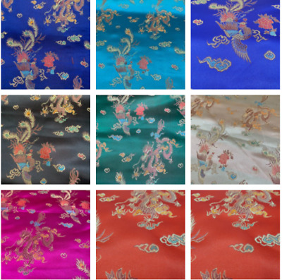 £6.49 • Buy Traditional Chinese Embroidered Brocade Poly Silky Satin Oriental Dragon Print