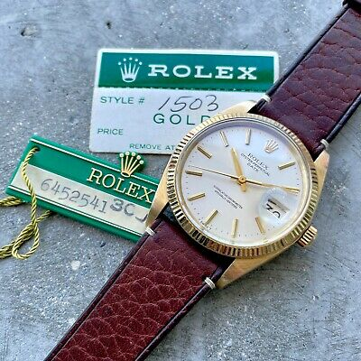 $ CDN6499.95 • Buy 1980 Vintage Rolex Date Mens 14K Yellow Gold Watch Reference 1503 Hang Tag