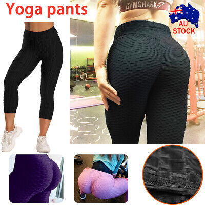 AU17.05 • Buy Women High Waist TikTok Leggings Ruched Anti-Cellulite Yoga Pants Gym Fitness