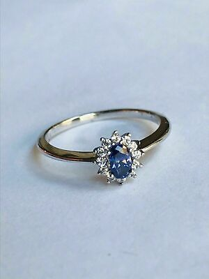 $ CDN25.63 • Buy Diamonique STERLING SILVER TANZANITE Cluster RING With Clear Stones From QVC