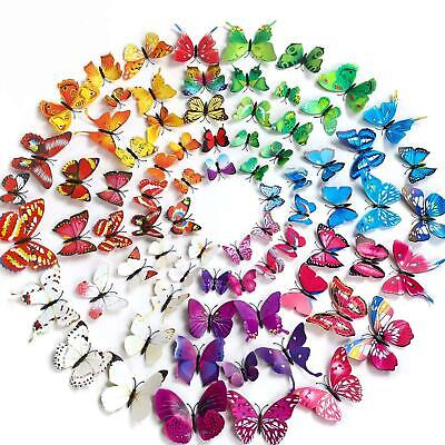 £2.29 • Buy 12pcs 3D Butterfly Fridge Magnets Wall Stickers Art Decoration Child Kids Room