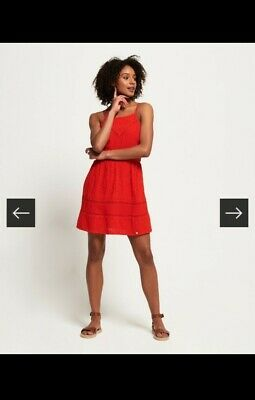 AU14.34 • Buy Superdry Lilah Schiffli Women Ladies  Red Dress Size 8-10