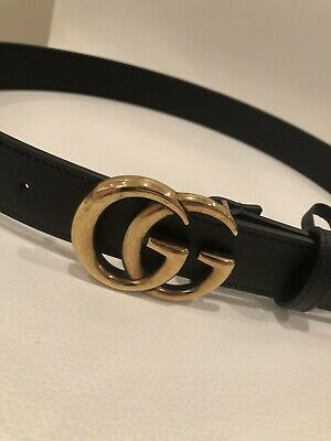 "AU367.01 • Buy GUCCI Leather Belt Slim Double GG Buckle, Black/Gold, Authentic, 75cm/30"" - NEW"