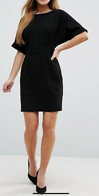 AU20 • Buy ASOS PETITE Mini Smart Woven Dress In Black With V Back Turn Up Cuffs Sz 4 XXS
