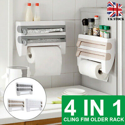 £10.99 • Buy Kitchen Cling Film And Foil Dispenser Paper Towel Roll Holder Wall Mounted Rack