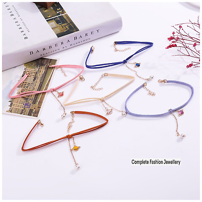 £3.99 • Buy  Multicoloured Korean Vevlet Choker Necklace With Planet & Withe Ball Pendants