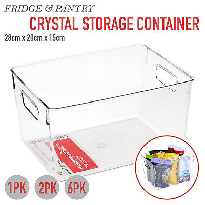 AU16.95 • Buy 1/2/6x Fridge Pantry Food Storage Container Handle Crystal Clear Plastic Cabinet