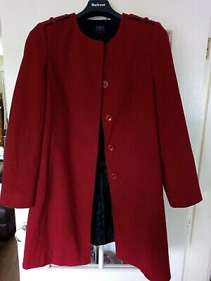 Marks & Spencer Red Wool Coat With Cashmere Size 14- Can Be Washed On Wool Cycle • 8£