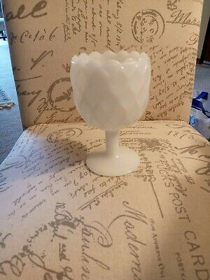 $25 • Buy NWOT'S Wine Goblet Milk Glass 16 Oz Pedestal Honeycomb Quilted Style. Free Ship