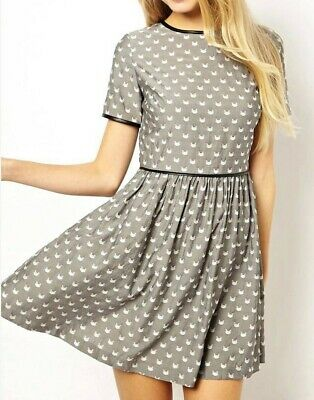AU10 • Buy ASOS PETITE Grey White Jacquard Cat Print Skater Dress AU Size 2 XXS