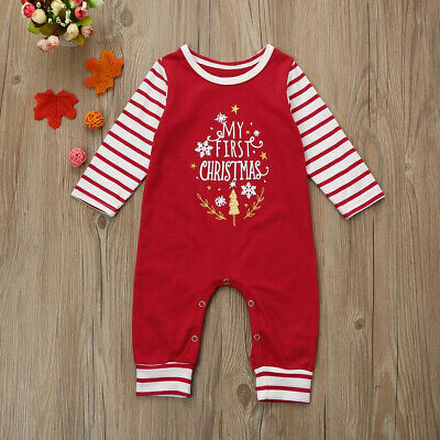 £7.99 • Buy MY FIRST CHRISTMAS Baby Boy Girl Romper Jumpsuit Newborn Infant Outfits Clothes