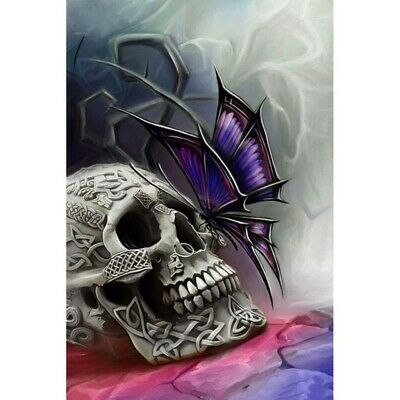 AU15.99 • Buy 5D Full Drill Diamond Painting Embroidery Kit Decor Mural Purple Butterfly Skull