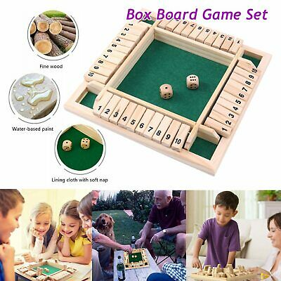 £9.79 • Buy Wooden 4Players Shut The Box Dice Game Tabletop Family Parents Kids Board Games
