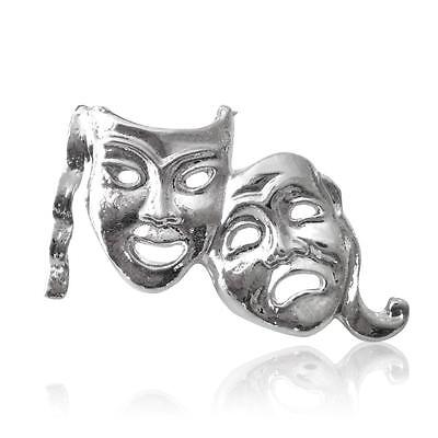 £3.75 • Buy Silver Plated Comedy Tragedy Theatre Mask Lapel Pin Badge Size 25x15mm