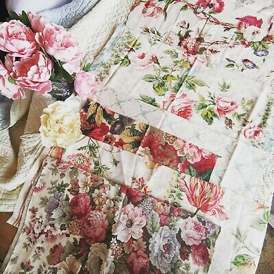 Vintage Remnants Reclaimed Fabric Sanderson Cabbage Rose Sewing Mixed Media Pk 4 • 30£