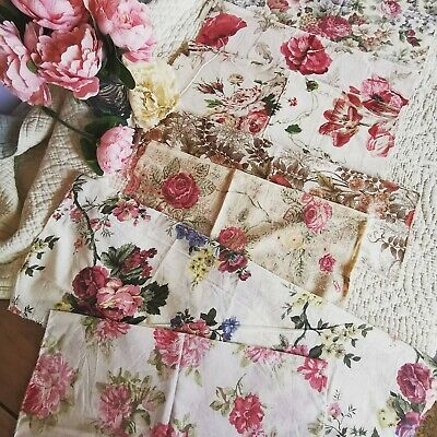 Vintage Remnants Reclaimed Fabric Sanderson Cabbage Rose French Linen Sewing P 5 • 30£