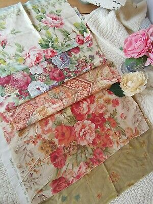 Vintage Remnants Reclaimed Fabric Sanderson Cabbage Rose Sewing Mixed Media Pk 7 • 30£