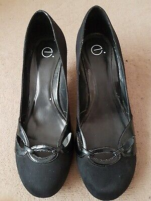 Evans Black Court Shoes Kitten Heels 9/43 Wide • 1.99£