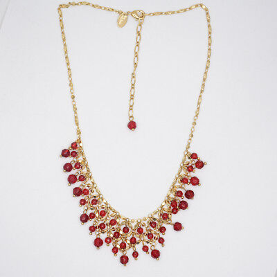$ CDN8.48 • Buy Lia Sophia Jewelry Gold Filled Red Beads Cluster Bib Statement Necklace Chain