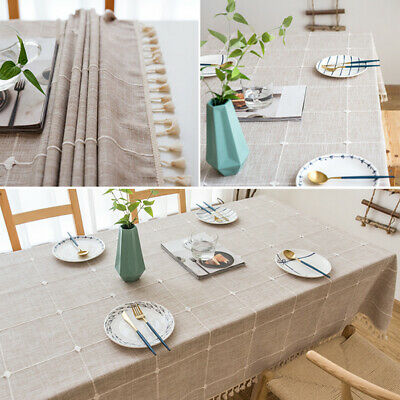 AU27.23 • Buy Dining Room Tassel Tablecloth Table Cover Cloth Home Decoration Cotton Linen