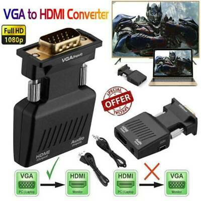£5.99 • Buy VGA INPUT To HDMI OUTPUT Video Audio Converter Cable Adapter 1080 For TV PC DVD