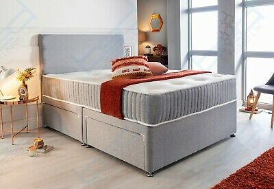 £279.99 • Buy Fabric Divan Bed Set With Memory Foam Mattress And Headboard Double King Single