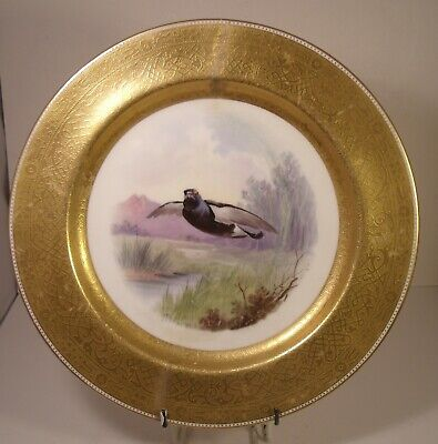 Minton Tiffany Hand Painted Heavily Gilded Black Grouse Cabinet Plate Dean A/F • 19.99£