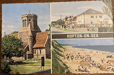 1970 Real Photo Postcard Hopton On Sea Great Yarmouth Seaside Beach • 1.19£