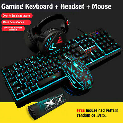 USB Wired Mechanical Backlight Gaming Mouse Keyboard Pad Headset Set Computer PC • 13.59£