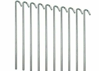 £2.99 • Buy 10 Galv Steel Tent Pegs 200mm Metal Camping Tent Ground Sheet