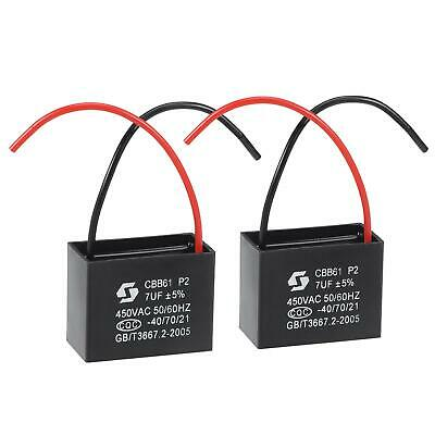 AU14.63 • Buy Ceiling Fan Capacitor CBB61 7uF 450V 2 Wires Metallized Film Capacitor 2Pcs