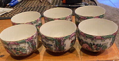 £21.29 • Buy Antique CHINESE ROSE MEDALLION Set Of Six (6) Cups Hand Decorated HONG KONG ACF