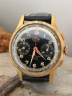 $ CDN214.50 • Buy Rare Vintage Statum Geneve Chronograph Men's Manual Wind Black Dial Landeron 51