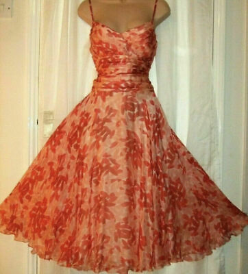 £50 • Buy MONSOON Esme 100% Silk Dress  Coral Strappy Summer Holiday Occasion Size 18