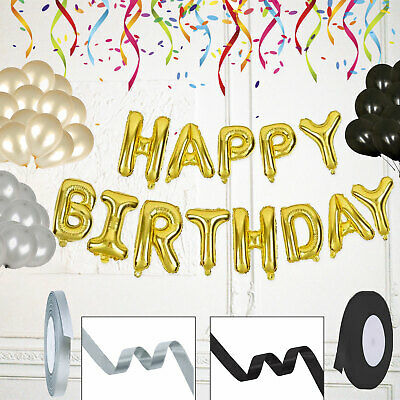 $3.79 • Buy Happy Birthday Bunting Banner Party Decorations Gold Black Latex Balloon Foil UK