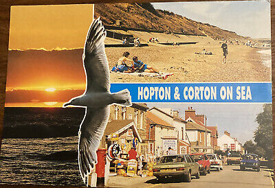 1980s Norfolk Seaside Photo Postcard Hopton Corton On Sea • 1.19£