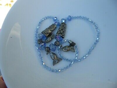 £2.49 • Buy Blue Glass Multifaceted Beads 3 Silver Tone Fish