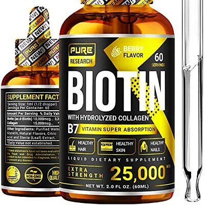 $26.86 • Buy Biotin & Collagen 25000mcg Hair Growth Liquid Drops Supports Strong Nails Glo...