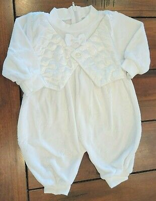 £8.65 • Buy Baby Boy Clothes Baby Club Up To 3 Month White Velour Butterfly Bow-Tie Outfit