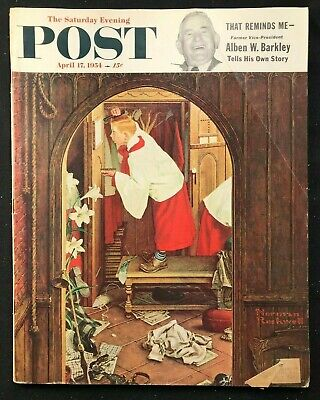 $ CDN25.16 • Buy SATURDAY EVENING POST  April 17 1954 -  NORMAN ROCKWELL / Ted Williams / Coke Ad