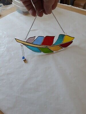 £12 • Buy Stained Glass Handmade Multi Coloured Angel Feathers. Window Decoration's